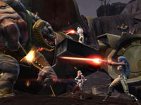 Joining together to fight a large enemy in Star Wars: The Old Republic