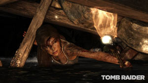 Lara Croft exploring an underground passage in Tomb Raider