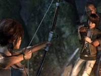 Lara Croft using her bow to save a captive in Tomb Raider