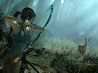 Lara Croft hunting a deer in Tomb Raider