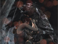 Lara Croft demonstrating her will to survive against an attacking wolf creature in Tomb Raider