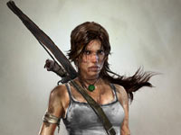 Lara Croft decked out with all her weapons in Tomb Raider