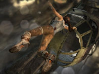 Lara Croft saving herself from falling in Tomb Raider