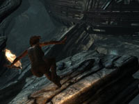 Lara Croft showing that she still has platforming skills in Tomb Raider