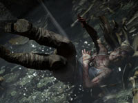 Lara Croft taking a bad fall in Tomb Raider