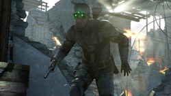 Sam Fisher moving in Ghost-stealth mode in Tom Clancy's Splinter Cell Blacklist