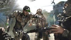 Sam Fisher eliminating a group of enemies through the use of the 'Killing in Motion' game mechanic in Tom Clancy's Splinter Cell Blacklist