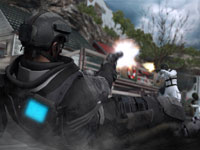 A diving pistol shot at an enemy from close range from Tom Clancy's Ghost Recon: Future Soldier