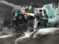 Multiplayer gameplay screen with one Ghost under optical camophlage in Tom Clancy's Ghost Recon: Future Soldier