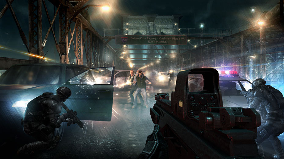 Clearing a car-filled bridge of enemy combatants in Tom Clancy's