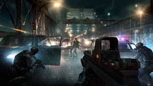 Clearing a car-filled bridge of enemy combatants in Tom Clancy's Rainbow 6 Patriots