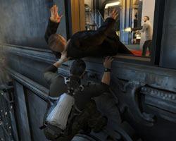Sam making a stealth window kill in Tom Clancy's Splinter Cell: Conviction