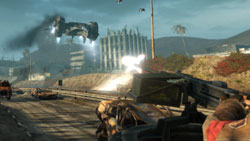 Firing at a hunter killer from the back of a truck in 'Terminator: Salvation'