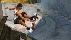 Catching some air in a storm drain in 'Tony Hawk: Ride'
