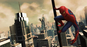 Spider-Man suspending himself on a pole in The Amazing Spider-Man