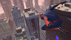 Spider-Man catching some air as he swings through the city in The Amazing Spider-Man