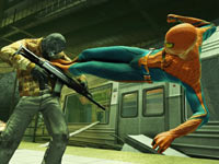 Spider-Man knocking out a rifle toting human enemy in The Amazing Spider-Man