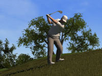 Zack Johnson narrowly avoiding a sand trap in Tiger Woods PGA Tour 12 Collector's Edition