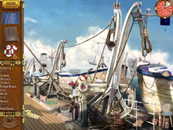 Hidden object gameplay on the outer deck of the Titanic II from Titanic Mystery