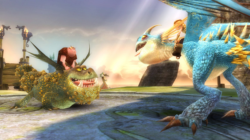 Gronckle and a Deadly Nadder in How to Train Your Dragon the Game