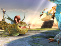 A Gronckle and a Deadly Nadder in How to Train Your Dragon the Game