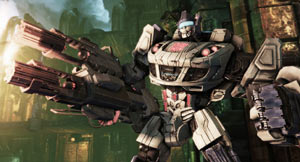 A Transformer holding a smoking gun in Transformers: Fall of Cybertron