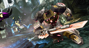 Wielding a sword against an attacking Insecticon enemy in Transformers: Fall of Cybertron
