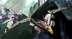 A Dinobot and a group of Insecticons fying in formation in Transformers: Fall of Cybertron