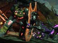 Holding off an Insecticon with a shield in Transformers: Fall of Cybertron