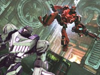 A Transformer catching some air as he attacks from behind in Transformers: Fall of Cybertron
