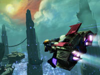 A Transformer in aerial mode in Transformers: Fall of Cybertron