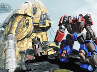 Looking out over an expansive gameplay environment in Transformers: Fall of Cybertron