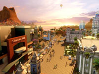 A retail city scene from Tropico 4