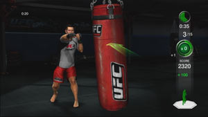 Trainer Javier Mendez demonstrating the correct way to hit the heavy bag in UFC Personal Trainer: The Ultimate Fitness System