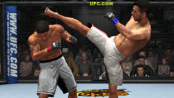 A kick oriented standing game in 'UFC 2009 Undisputed'