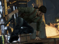 Drake hustling through a game environment with weapon in hand in Uncharted 3: Drake's Deception