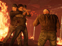 Drake taking on two enemies in hand-to-hand combat in Uncharted 3: Drake's Deception