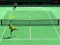 Novak Djokovic directing a smash into the open court against Andy Roddick in Virtua Tennis 4