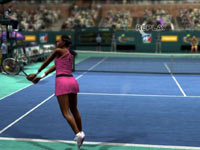 Venus Williams leaning into a two-handed backhand under the lights in Virtua Tennis 4
