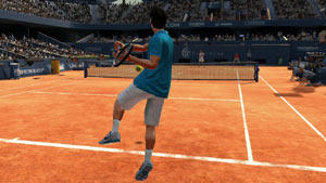 Roger Federer unleashing a backhand on the red clay in Virtua Tennis 4