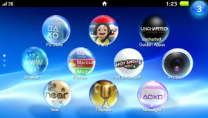 Close-up view of the PlayStation Vita screen showing menu and 3G connectivity