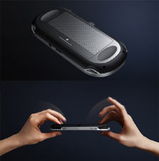 Demonstration of how the rear touch panel of the PlayStation Vita works