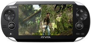 A gameplay screen from an Uncharted game played on the PlayStation Vita