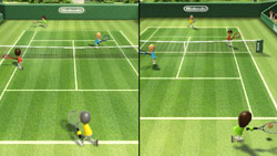 Multiplayer tennis game from Wii Sports