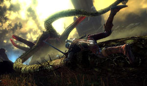 Geralt battling a huge creature in The Witcher 2: Assassins Of Kings Enhanced Edition