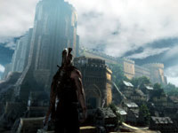 Geralt looking up at a castle in The Witcher 2: Assassins Of Kings Enhanced Edition
