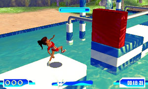 Making a leap over a water course in Wipeout 2