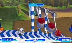 A costumed player character running the gauntlet in Wipeout 2