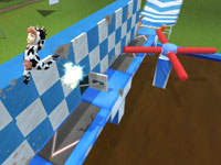 A Wipeout 2 contestant in a cow suit catching air