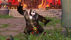 A Pandaren Monk practicing kung-fu in World of Warcraft: Mists of Pandaria